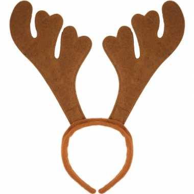 24x kerst verkleedaccessoire bruin rendieren gewei voor volwassenen