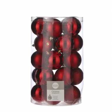 25x kunststof kerstballen rood 8 cm