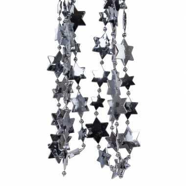 2x antraciet kerstboom sterren kralenketting 270 cm