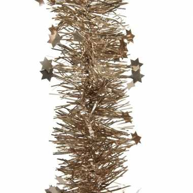 2x bruine kerstboom folie slinger met ster 270 cm