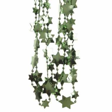 2x dennengroene kerstboom sterren kralenketting 270 cm