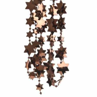2x donker bruine kerstboom sterren kralenketting 270 cm
