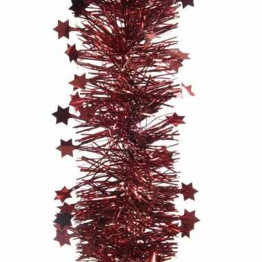 2x donker rode kerstboom folie slinger met ster 270 cm