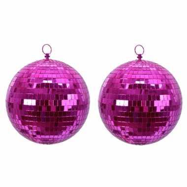 2x fuchsia roze spiegelballen disco kerstballen 8 cm