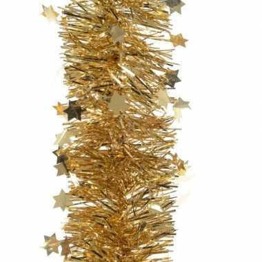 2x gouden kerstboom folie slinger met ster 270 cm