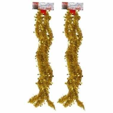 2x gouden kerstboom slingers 270 cm