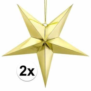 2x gouden sterren kerstdecoratie 45 cm