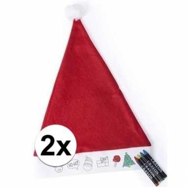 2x hobby kerstmutsen inkleurbaar met waskrijtjes voor jongens/meisjes