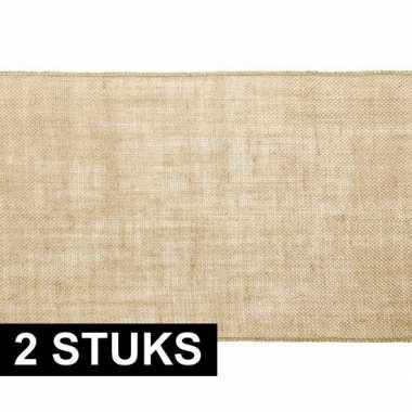 2x kerst versiering jute tafelloper/placemats 28 x 500 cm
