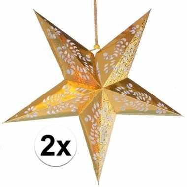 2x kerstartikelen decoratie sterren goud van 60 cm