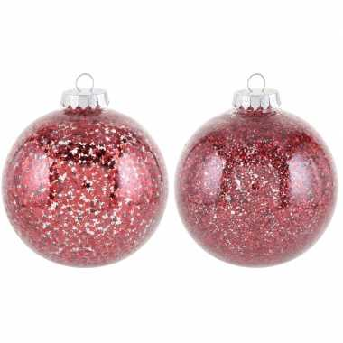 2x kerstballen rood 10 cm kunststof kerstboom versiering/decoratie