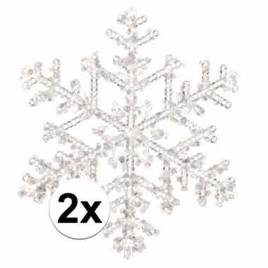 2x kerstboomdecoratie hangers sneeuwvlokken transparant 18 cm