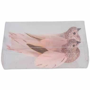 2x kerstboomversiering glitter roze vogeltjes op clip 11 cm