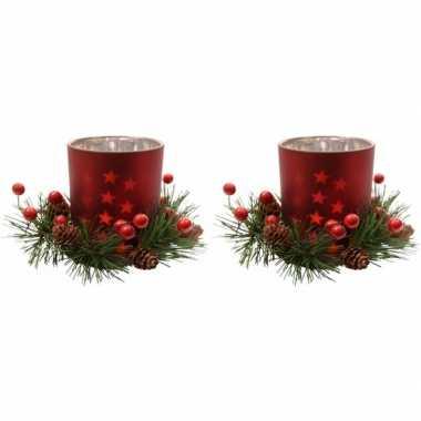 2x kerstdecoratie theelichthouders rood 8 cm