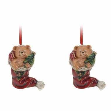 2x kersthangers kerstsok met kerstbeertje 8 cm kerstboomversiering