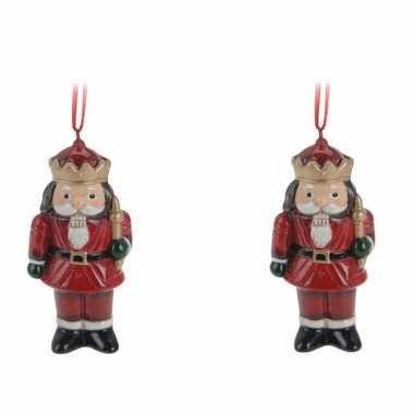 2x kersthangers notenkrakers 8 cm kerstboomversiering