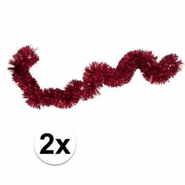 2x kerstslinger / folieslinger rood 15 cm x 2 m