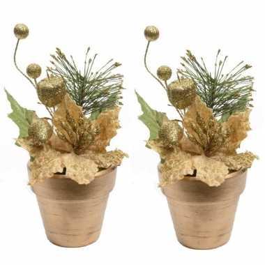 2x kerstster goud fluweel in pot 16 cm