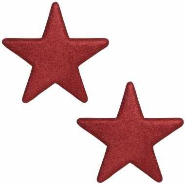 2x kerstversiering/kerstdecoratie grote rode glitter sterren 25 cm