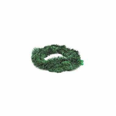 2x kerstversiering kerstslingers dennengroen van 270 cm