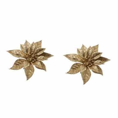 2x kerstversieringen kerststerren bloemen goud op clip