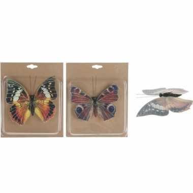 2x kerstversieringen vlinders op clip 17 cm