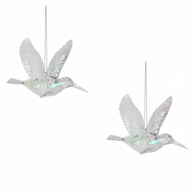 2x kolibrie vogels kersthanger figuurtjes acryl 7 cm