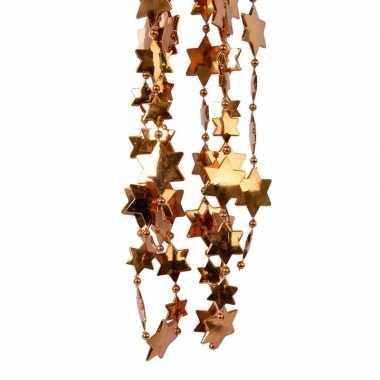 2x koper bruine kerstboom sterren kralenketting 270 cm