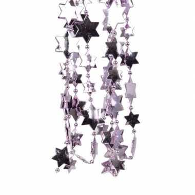 2x lila paarse kerstboom sterren kralenketting 270 cm