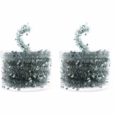 2x mint groene kerstboom folie slingers met ster 700 cm