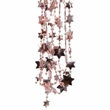 2x oud roze kerstboom sterren kralenketting 270 cm