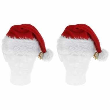 2x pluche kerstmutsen met bel deluxe