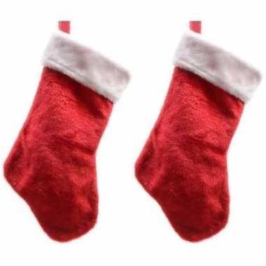 2x pluche kerstsokken 40 cm rood/wit