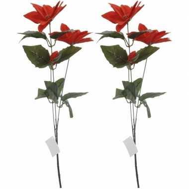 2x rode kerstbloem 66 cm
