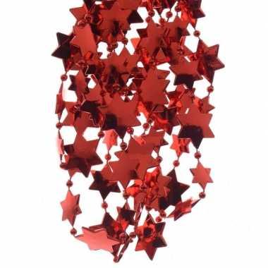 2x rode kerstboom sterren kralenketting 270 cm