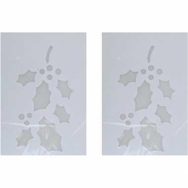 2x sneeuwspray kerst raamsjablonen hulsttak plaatjes 35 cm