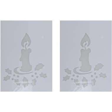 2x sneeuwspray kerst raamsjablonen kaarsen plaatjes 35 cm