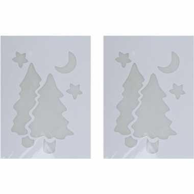 2x sneeuwspray kerst raamsjablonen kerstbomen plaatjes 35 cm
