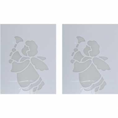 2x sneeuwspray kerst raamsjablonen kerstengel met bel plaatjes 35 cm