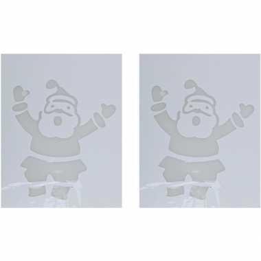 2x sneeuwspray kerst raamsjablonen kerstmannen plaatjes 35 cm