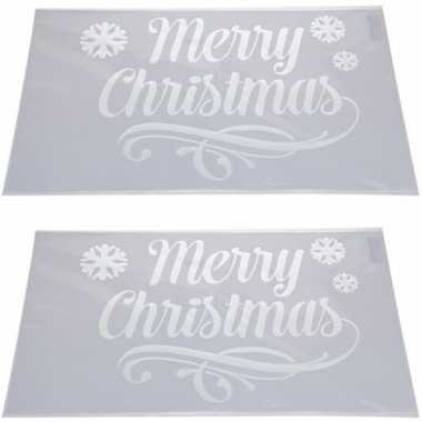2x sneeuwspray kerst raamsjablonen merry christmas plaatjes 54 cm