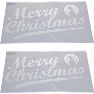 2x sneeuwspray kerst raamsjablonen merry christmas tekst 54 cm