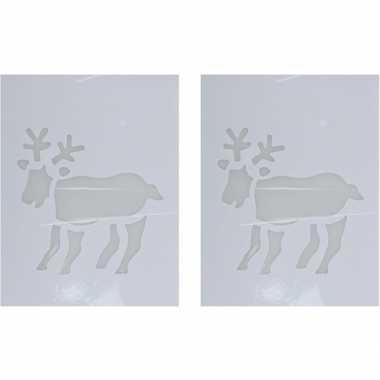 2x sneeuwspray kerst raamsjablonen rendier plaatjes 35 cm