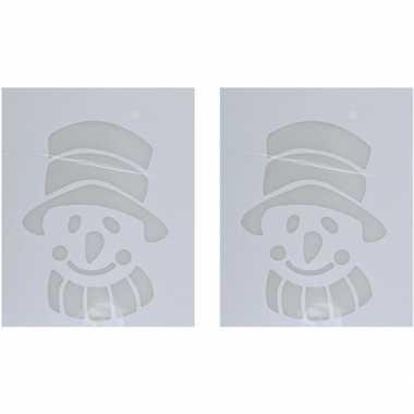 2x sneeuwspray kerst raamsjablonen sneeuwpoppen plaatjes 35 cm