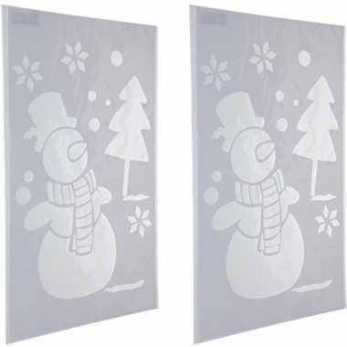 2x sneeuwspray kerst raamsjablonen sneeuwpoppen plaatjes 54 cm