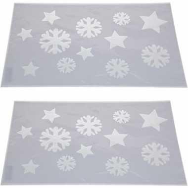 2x sneeuwspray kerst raamsjablonen sneeuwvlokken/sterren plaatjes 54