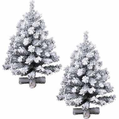 2x stuks besneeuwde kunst kerstbomen op kruispoot 75 cm kunstbomen