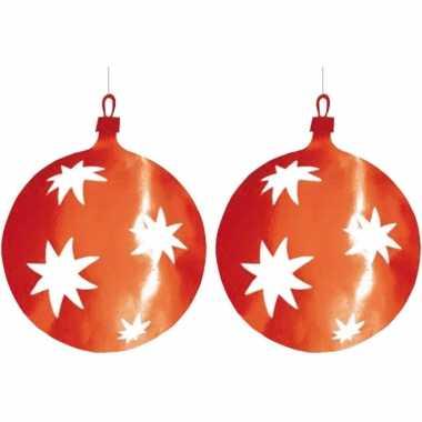 2x stuks kerstballen hangdecoratie rood 40 cm van karton