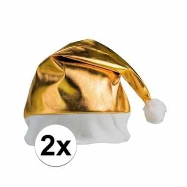 2x stuks kerstmutsen glimmend goud