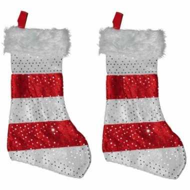 2x stuks kerstsokken rood met wit 43 cm